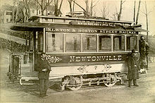 Early trolley car in Newton, Massachusetts