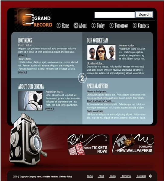 "Designing a website for a new company ""Grand Record"" cinema"
